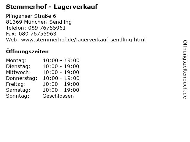 Stemmerhof - Lagerverkauf in München-Sendling: Adresse und Öffnungszeiten