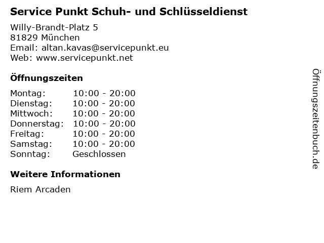 Service Punkt Schuh- und Schlüsseldienst in München: Adresse und Öffnungszeiten