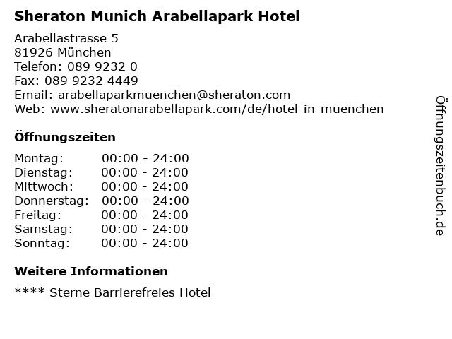 Sheraton Munich Arabellapark Hotel in München: Adresse und Öffnungszeiten