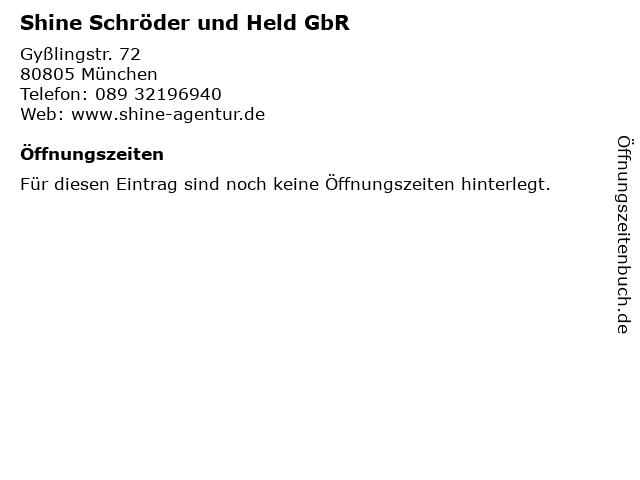 Shine Schröder und Held GbR in München: Adresse und Öffnungszeiten