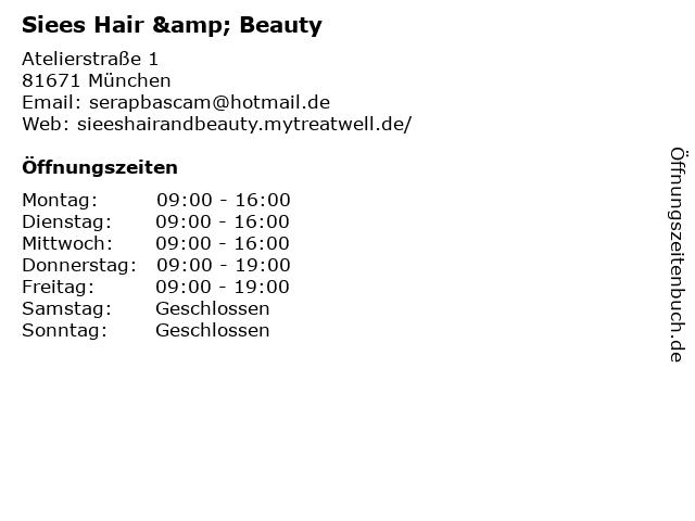 Siees Hair & Beauty in München: Adresse und Öffnungszeiten