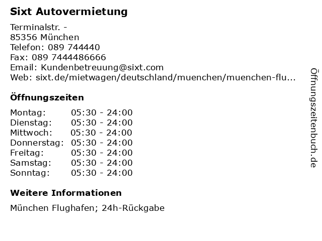 Sixt Autovermietung in München: Adresse und Öffnungszeiten