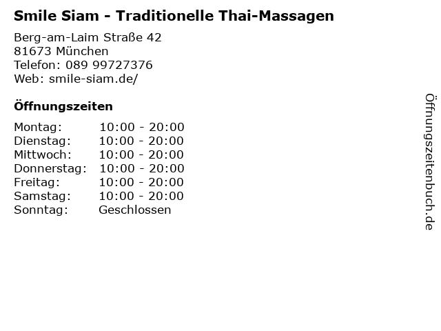 Smile Siam - Traditionelle Thai-Massagen in München: Adresse und Öffnungszeiten