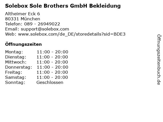 Solebox Sole Brothers GmbH Bekleidung in München: Adresse und Öffnungszeiten