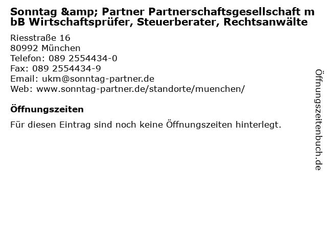 Sonntag & Partner Partnerschaftsgesellschaft mbB Wirtschaftsprüfer, Steuerberater, Rechtsanwälte in München: Adresse und Öffnungszeiten