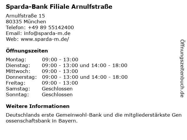 Sparda-Bank Filiale Arnulfstraße in München: Adresse und Öffnungszeiten