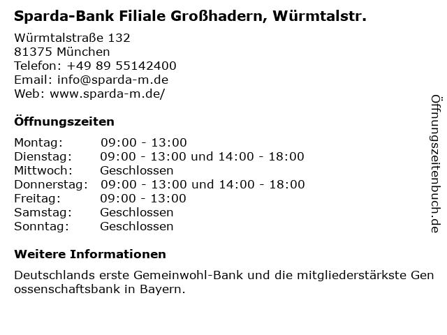 Sparda-Bank Filiale Großhadern, Würmtalstr. in München: Adresse und Öffnungszeiten