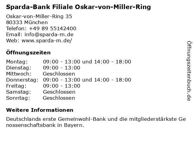 Sparda-Bank Filiale Oskar-von-Miller-Ring in München: Adresse und Öffnungszeiten