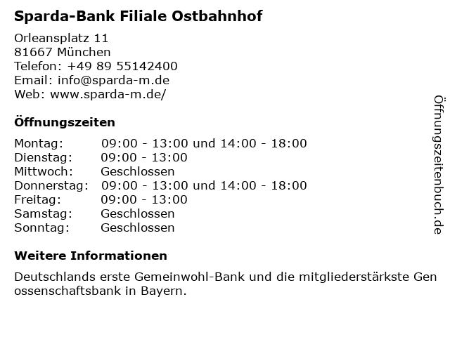 Sparda-Bank Filiale Ostbahnhof in München: Adresse und Öffnungszeiten