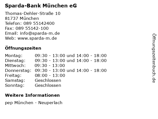 Sparda-Bank München eG in München: Adresse und Öffnungszeiten