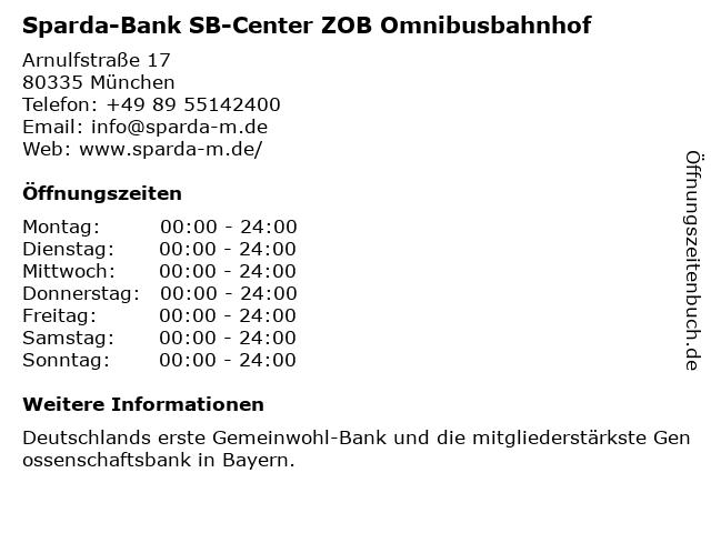 Sparda-Bank SB-Center ZOB Omnibusbahnhof in München: Adresse und Öffnungszeiten