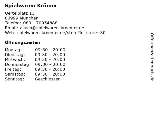 Spielwaren Krömer in München: Adresse und Öffnungszeiten
