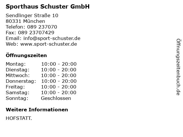 Sporthaus Schuster GmbH in München: Adresse und Öffnungszeiten