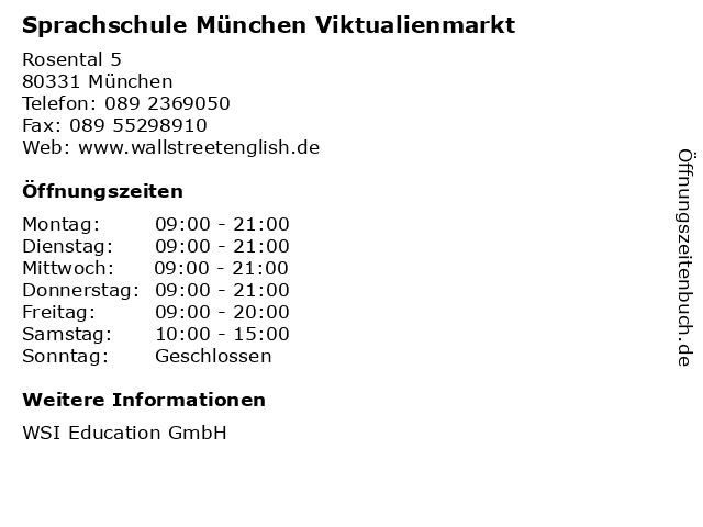 Sprachschule München Viktualienmarkt in München: Adresse und Öffnungszeiten