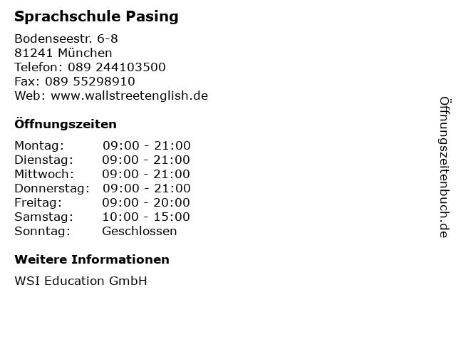 Sprachschule Pasing in München: Adresse und Öffnungszeiten