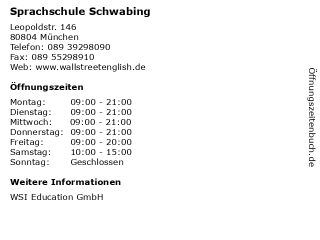 Sprachschule Schwabing in München: Adresse und Öffnungszeiten