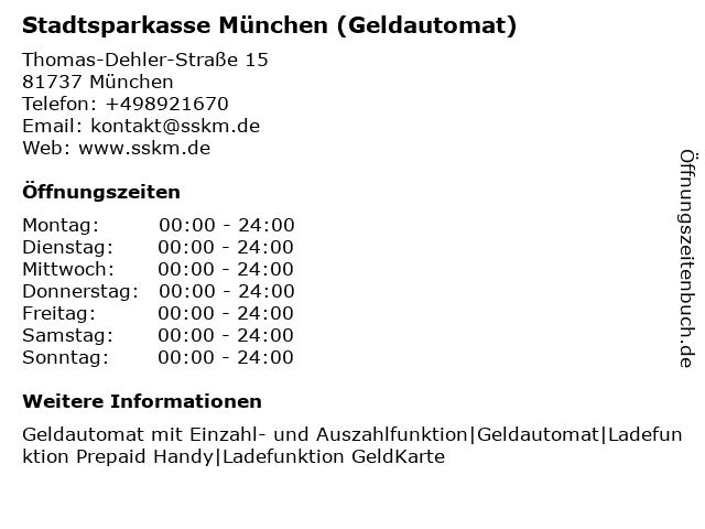 Stadtsparkasse München - (Geldautomat Filiale) in München: Adresse und Öffnungszeiten