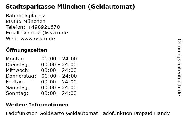 Stadtsparkasse München - (Geldautomat Hauptbahnhof U-Bahnhof ) in München: Adresse und Öffnungszeiten
