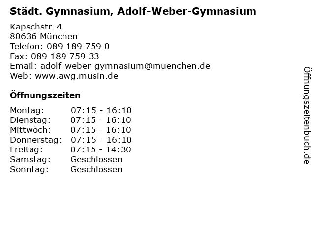 Städt. Gymnasium, Adolf-Weber-Gymnasium in München: Adresse und Öffnungszeiten