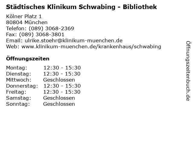 Städtisches Klinikum Schwabing - Bibliothek in München: Adresse und Öffnungszeiten