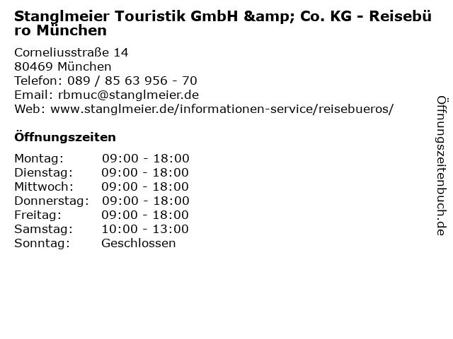 Stanglmeier Touristik GmbH & Co. KG - Reisebüro München in München: Adresse und Öffnungszeiten