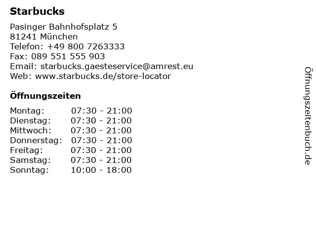 Starbucks Coffee House in München: Adresse und Öffnungszeiten