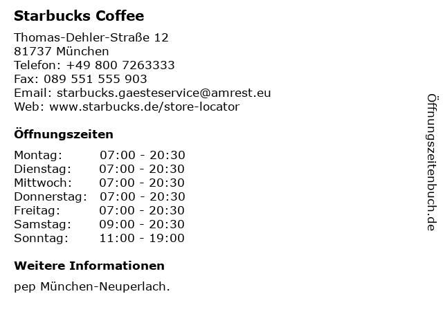 Starbucks Coffee PEP EKZ in München: Adresse und Öffnungszeiten