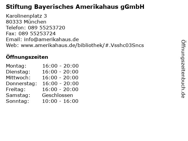 Stiftung Bayerisches Amerikahaus gGmbH in München: Adresse und Öffnungszeiten