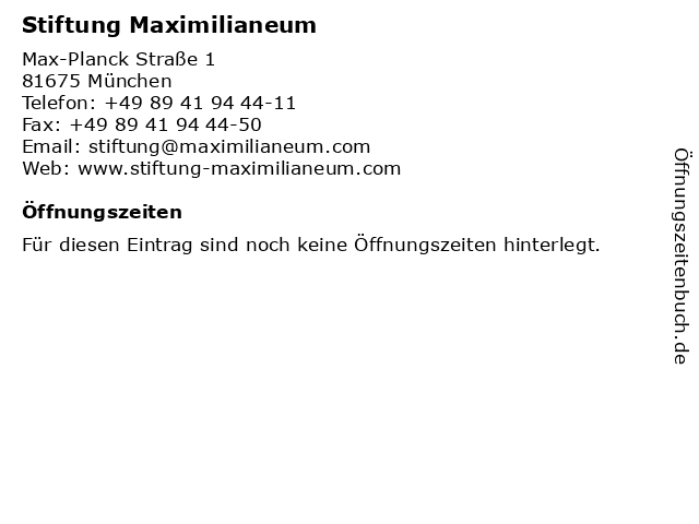 Stiftung Maximilianeum in München: Adresse und Öffnungszeiten