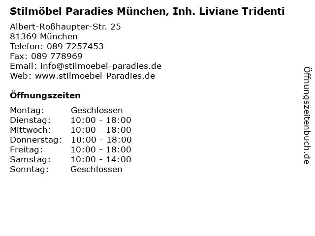 ᐅ öffnungszeiten Stilmöbel Paradies München Inh Liviane Tridenti