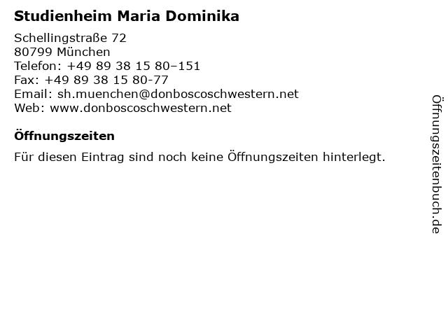 Studienheim Maria Dominika in München: Adresse und Öffnungszeiten