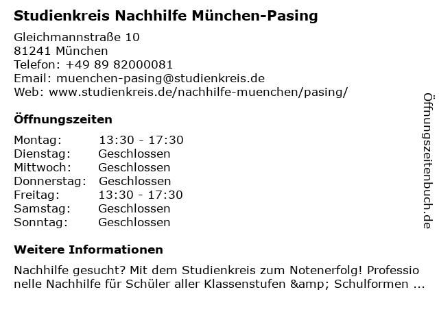 Studienkreis Nachhilfe München-Pasing in München: Adresse und Öffnungszeiten