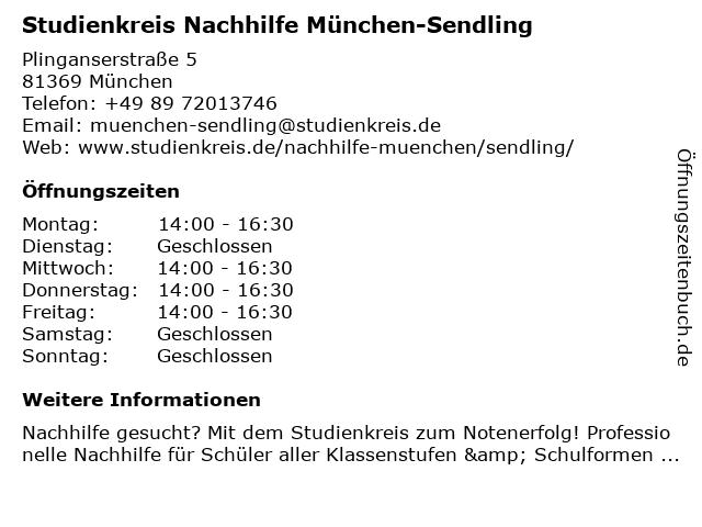 Studienkreis Nachhilfe München-Sendling in München: Adresse und Öffnungszeiten