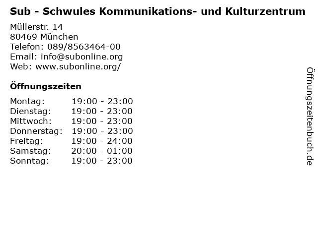 Sub - Schwules Kommunikations- und Kulturzentrum in München: Adresse und Öffnungszeiten