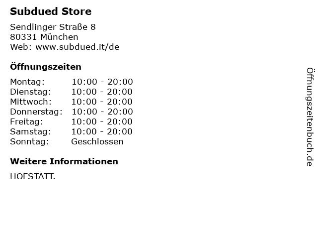 Subdued Store in München: Adresse und Öffnungszeiten