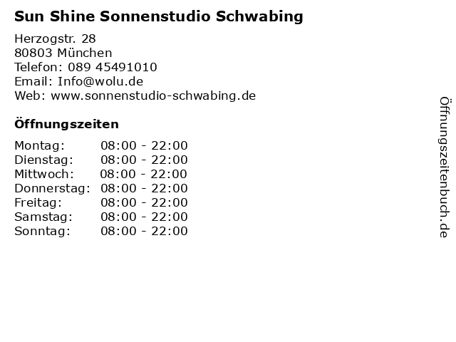 Sun Shine Sonnenstudio Schwabing in München: Adresse und Öffnungszeiten