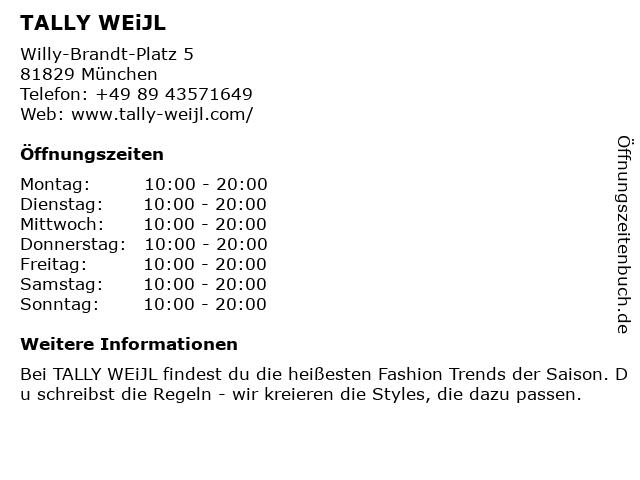 Tally Weijl Retail Germany GmbH in München: Adresse und Öffnungszeiten