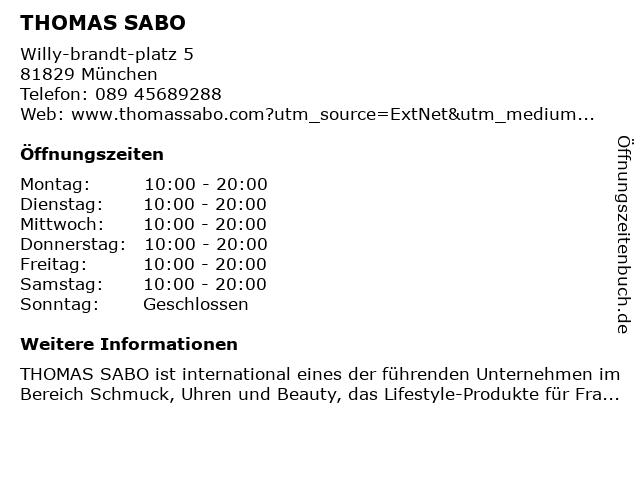 Thomas Sabo in München: Adresse und Öffnungszeiten