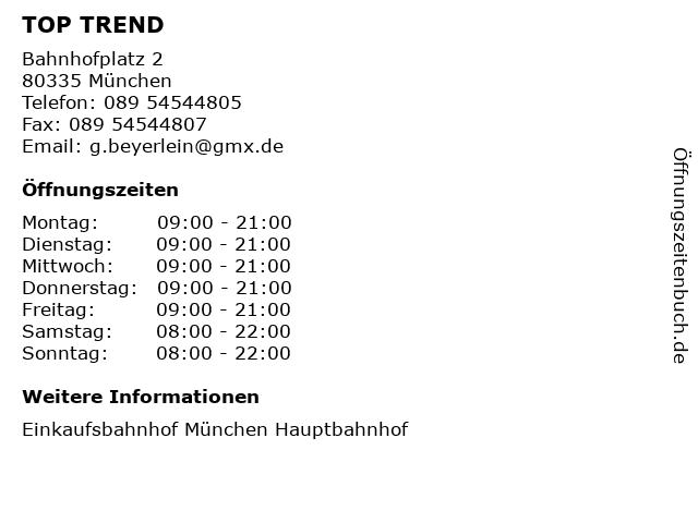 TOP TREND in München: Adresse und Öffnungszeiten