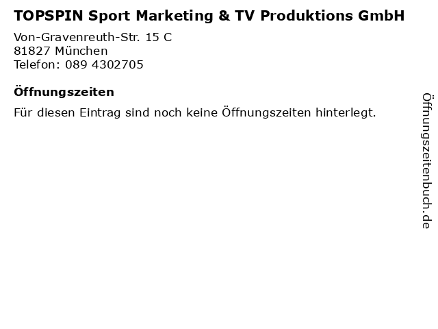 TOPSPIN Sport Marketing & TV Produktions GmbH in München: Adresse und Öffnungszeiten