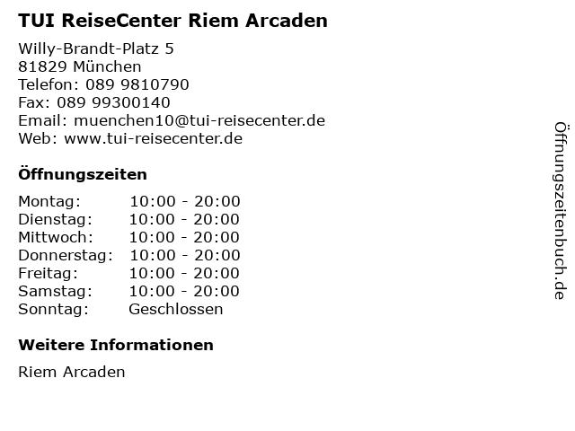 TUI ReiseCenter Riem Arcaden in München: Adresse und Öffnungszeiten
