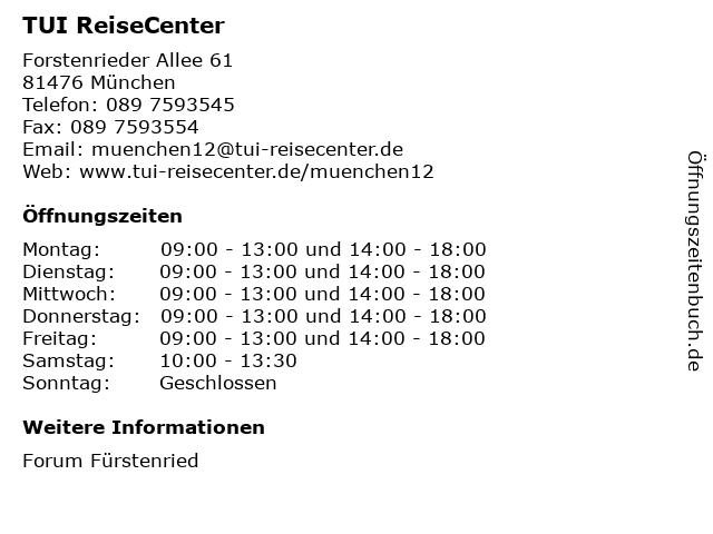TUI ReiseCenter in München: Adresse und Öffnungszeiten