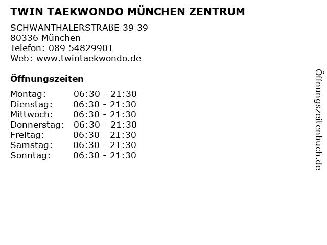 TWIN TAEKWONDO MÜNCHEN ZENTRUM in München: Adresse und Öffnungszeiten
