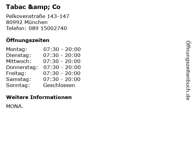 Tabac & Co in München: Adresse und Öffnungszeiten