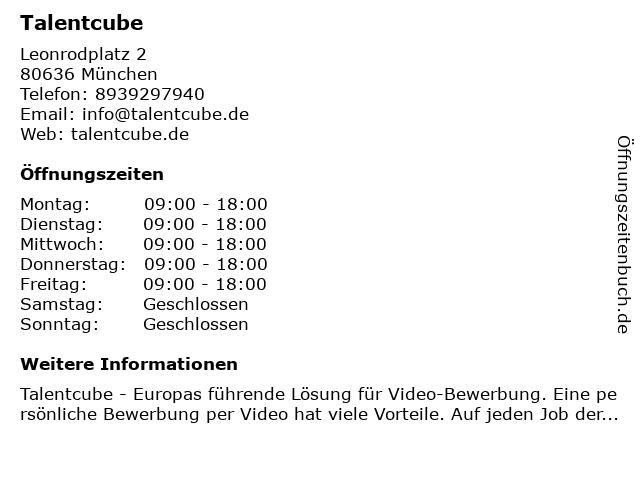 Talentcube in München: Adresse und Öffnungszeiten