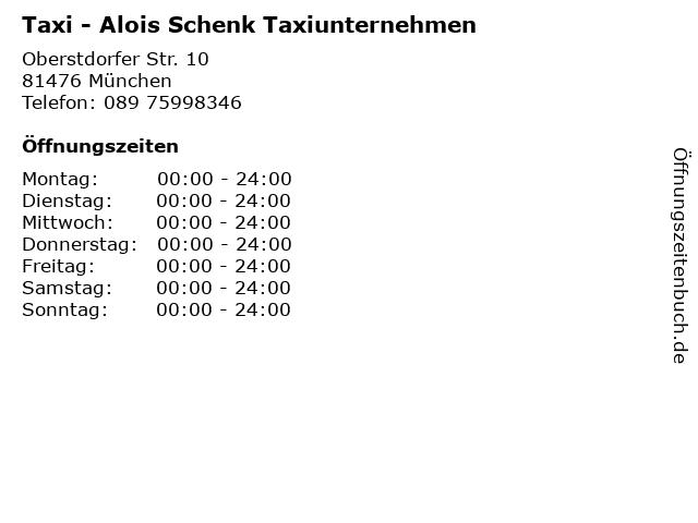 Taxi - Alois Schenk Taxiunternehmen in München: Adresse und Öffnungszeiten