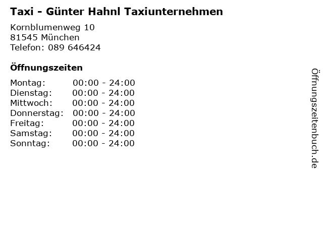 Taxi - Günter Hahnl Taxiunternehmen in München: Adresse und Öffnungszeiten