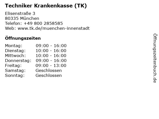 Techniker Krankenkasse in München: Adresse und Öffnungszeiten