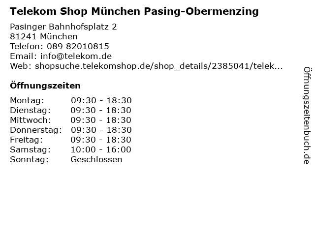 Telekom Shop München Pasing-Obermenzing in München: Adresse und Öffnungszeiten
