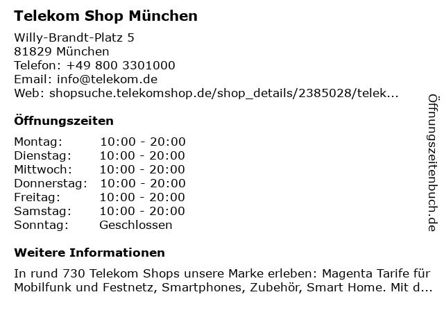 Telekom Shop München in München: Adresse und Öffnungszeiten